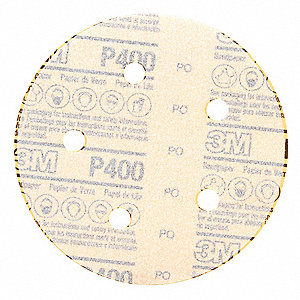 "5"" Coated Hook-and-Loop Sanding Disc, 400 Abrasive Grit, Super Fine Grade, Aluminum Oxide"