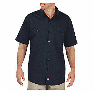 Short Sleeve Work Shirt, Dark Navy, XL