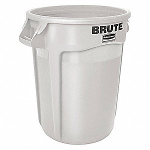 "BRUTE® 10 gal. Round Open Top Utility Trash Can, 17""H, White"