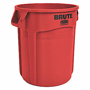 "BRUTE® 55 gal. Round Open Top Utility Trash Can, 33""H, Red"