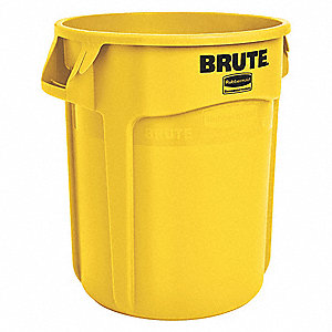 "BRUTE® 10 gal. Round Open Top Utility Trash Can, 17""H, Yellow"