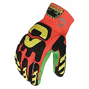 Impact Resistant Gloves, Microsuede Palm Material, Hi-Visibility Orange, Green, 1 PR