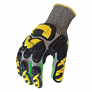 Impact Resistant Gloves, Nitrile Palm Material, Gray, Green, Hi-Visibility Yellow, 1 PR