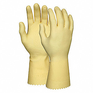 18.00 mil Natural Rubber Latex Chemical Resistant Gloves, Amber, Size S, 1 PR