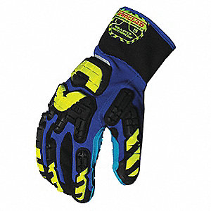 Anti-Vibration Gloves, Vibram™ Vulcanized Rubber Palm Material, Blue, Black, Hi-Visibility Yellow, 1
