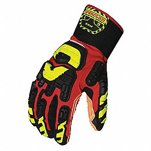 Anti-Vibration Gloves, Vibram™ Vulcanized Rubber Palm Material, Red, Black, Hi-Visibility Yellow, 1
