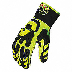Anti-Vibration Gloves, Vibram™ Vulcanized Rubber Palm Material, Green, Black, Hi-Visibility Yellow,