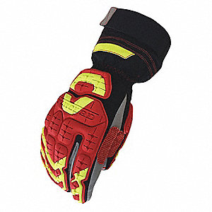 Impact Resistant Gloves, Microsuede Palm Material, Red, Black, Gray, Hi-Visibility Yellow, 1 PR