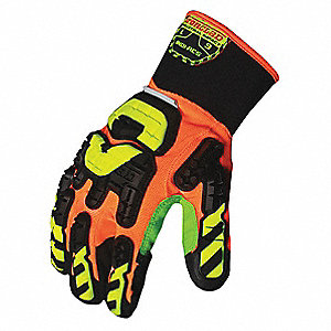Impact Resistant Gloves, Duraclad® Palm Material, Hi-Visibility Orange, Green, Black, Hi-Visibility