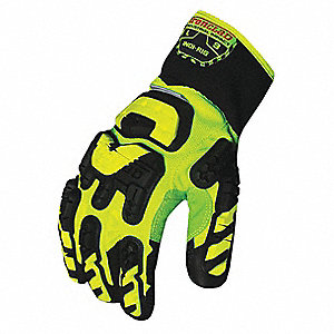 Impact Resistant Gloves, Duraclad® Palm Material, Green, Black, Hi-Visibility Yellow, 1 PR