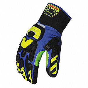 Impact Resistant Gloves, Duraclad® Palm Material, Blue, Black, Green, Hi-Visibility Yellow, 1 PR