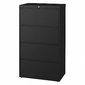 30 x 18.63 x 52.5 4-Drawer HL10000 Series Lateral File Cabinet, Black