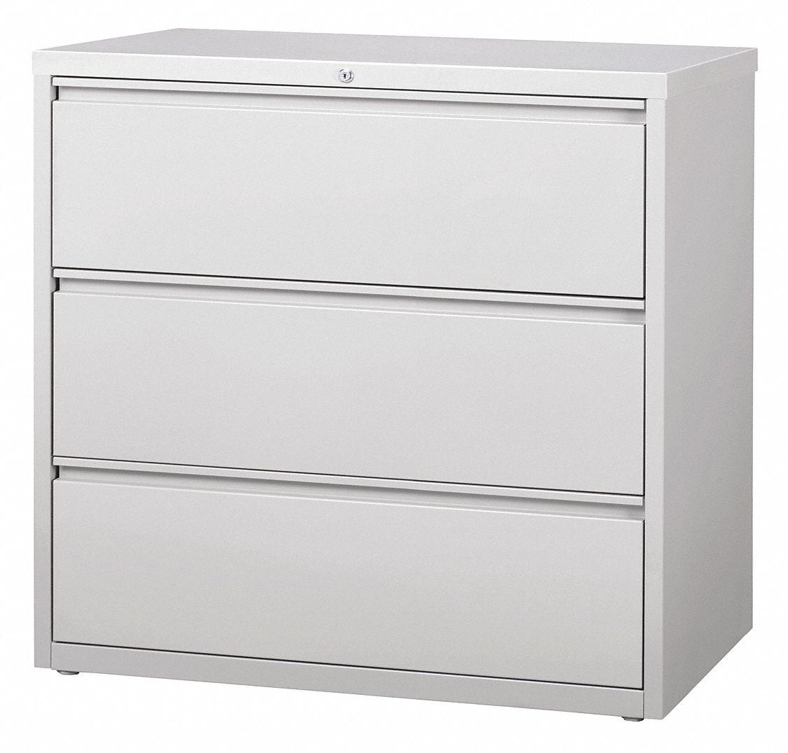 Hirsh 42 X 18 63 40 3 Drawer Hl8000 Series Lateral File Cabinet Light Gray 48yc29 17645 Grainger