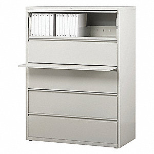 42 x 18.63 x 67.63 5-Drawer HL8000 Series Lateral File Cabinet, Light Gray