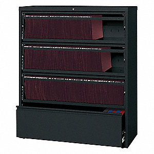 42 x 18.63 x 52.5 4-Drawer HL10000 Series Lateral File, Black