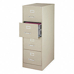 "18"" x 26-1/2"" x 52"" 4-Drawer 3000 Series File Cabinet, Putty"