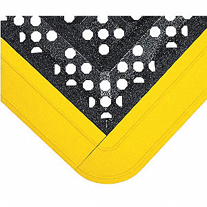 Interlocking Drainage Mat, Recycled PVC, Black with Yellow Border, 1 EA