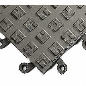 Interlocking Antifatigue Mat, PVC, Charcoal, 10 PK