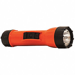 Industrial LED Industrial Handheld Flashlight, Polymer, Maximum Lumens Output: 50, Orange