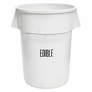 Food-Grade Waste Container,44 gal.,White
