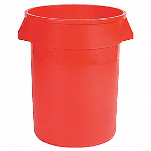 "BRUTE® 44 gal. Round Open Top Utility Food-Grade Waste Container, 31-1/2""H, Red"