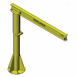 Manual Base Mounted Jib Crane, 300 lb., Height Under Span:9 ft.
