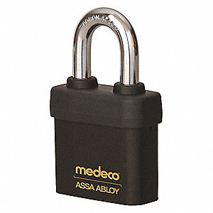 "Different-Keyed Padlock, Open Shackle Type, 2-1/4"" Shackle Height, Black"
