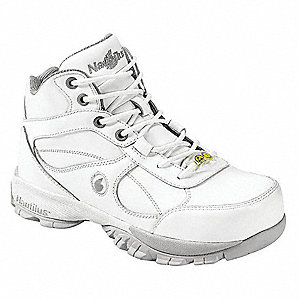 "5-1/2""H Men's Athletic Style Work Shoes, Steel Toe Type, White, Size 10-1/2W"