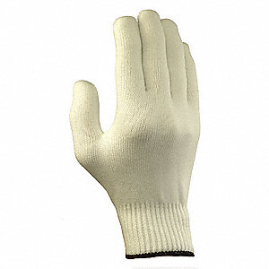 Knit Gloves, Polyester Material, Knit Wrist Cuff, White, Glove Size: 10