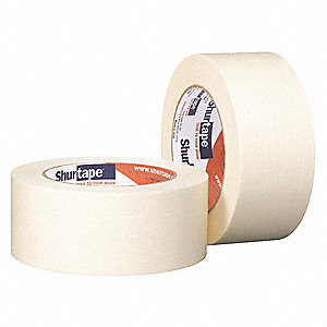 Paper Masking Tape, Rubber Tape Adhesive, 4.60 mil Thick, 36mm X 55m, Tan, 1 EA