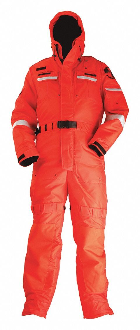 Anti-Exposure Work Suit,  M,  Nylon,  Orange,  15 1/2 lb Buoyancy