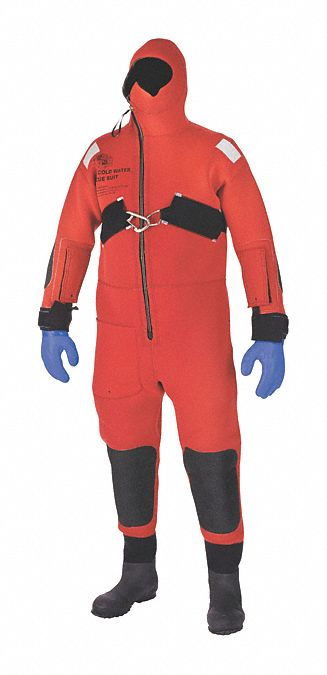Ice Rescue Suit,  Universal,  Neoprene,  Red,  15 1/2 lb Buoyancy