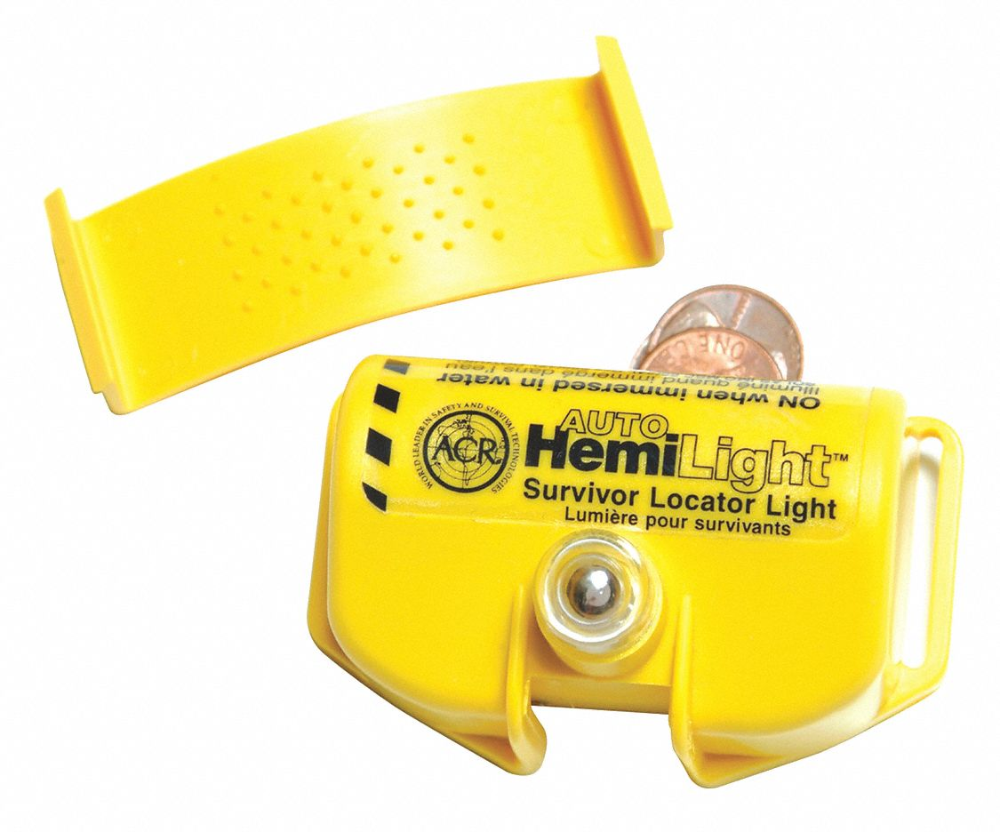 Water Activated Emergency Light, White Lens Color, Yellow Body Color