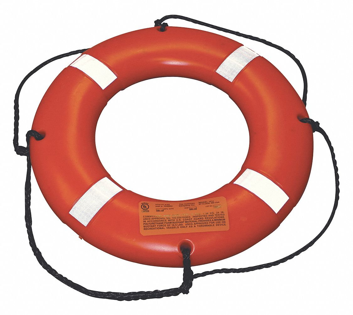 Survival Ring Buoy,  24 in Dia,  Polyethylene,  US Coast Guard Standards,  28 lb Buoyancy