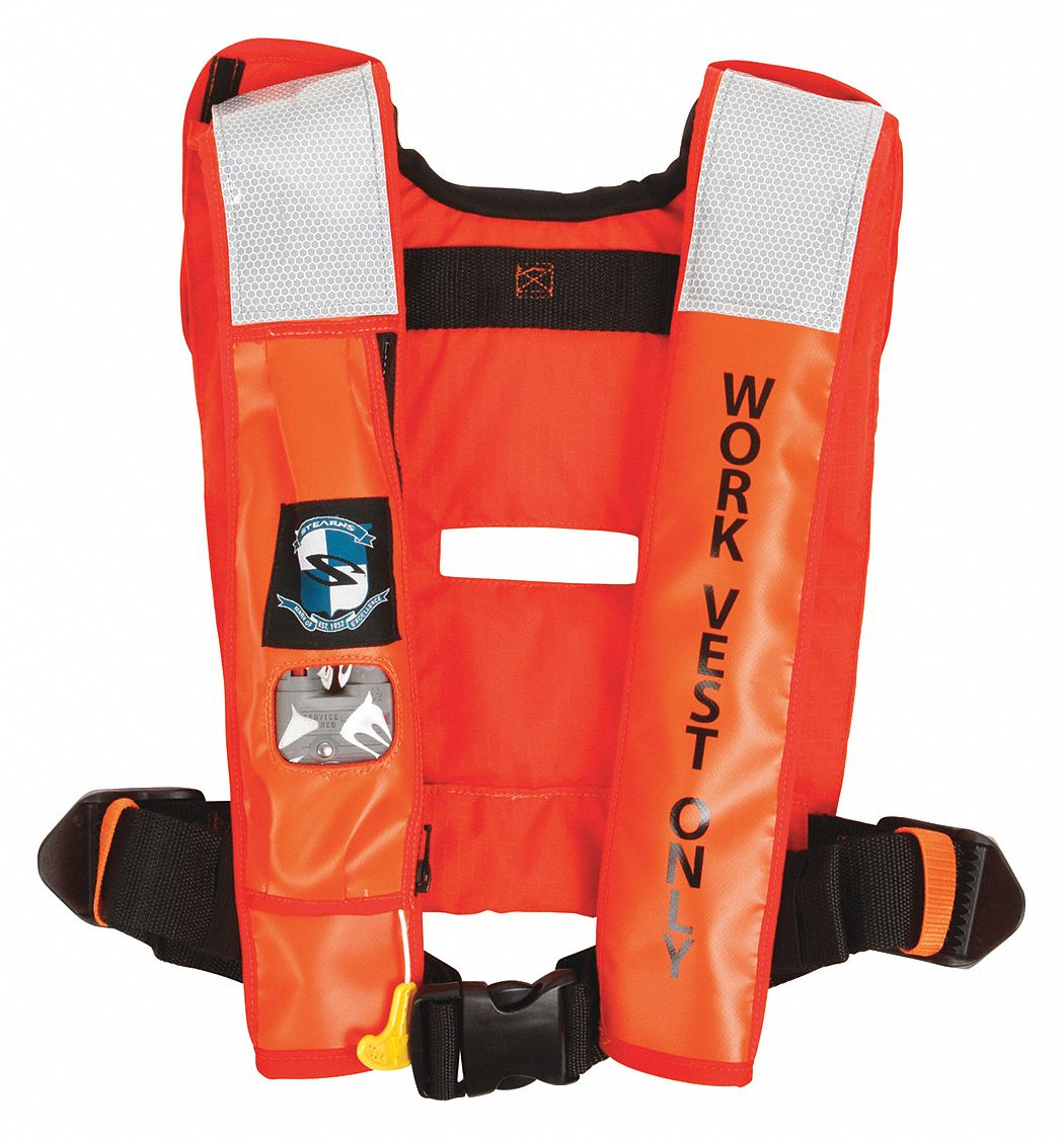 Inflatable Life Jacket, USCG Type II, V, CO2 Flotation Material, Size: Universal