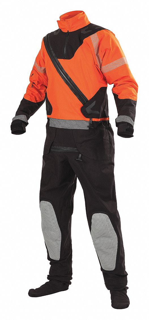 Surface Rescue Dry Suit,  XL,  Nylon,  Orange/Black,  15 1/2 lb Buoyancy