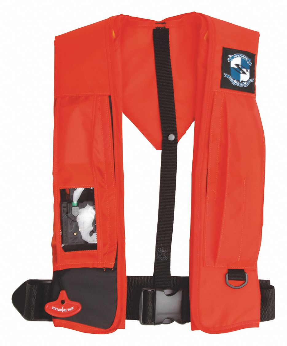 Inflatable Life Jacket, USCG Type II, III, V, CO2 Flotation Material, Size: Universal