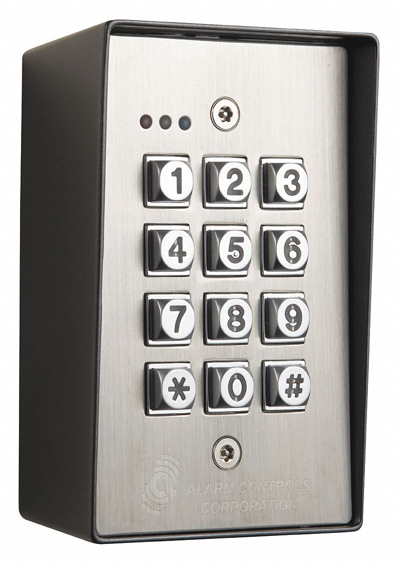 Access Control Keypad,  Keypad,  Stainless Steel,  4 7/8 in Height,  3 1/8 in Width