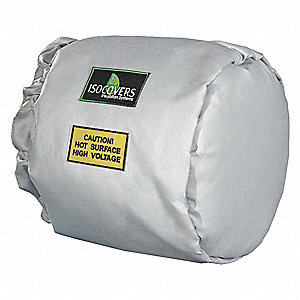 "3"" x 18"" x 12"" Mineral Wool, Fiberglass Insulated End Pipe Jacket, Silicone Coated Fiberglass Cloth"