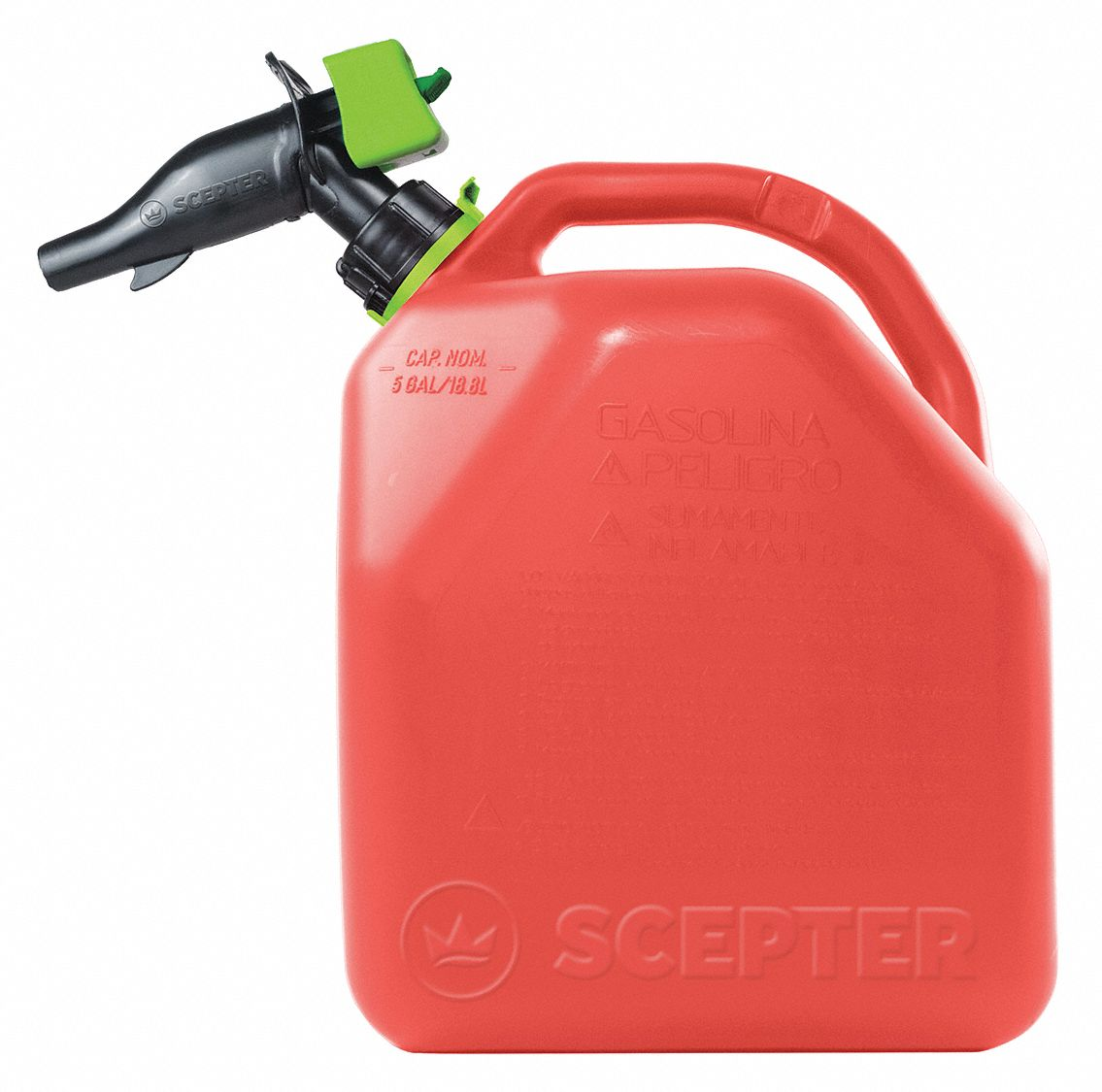 Gas Can,  Polypropylene,  5 gal Capacity,  16 3/4 in Height,  11 17/32 in Length,  9 59/64 in Width