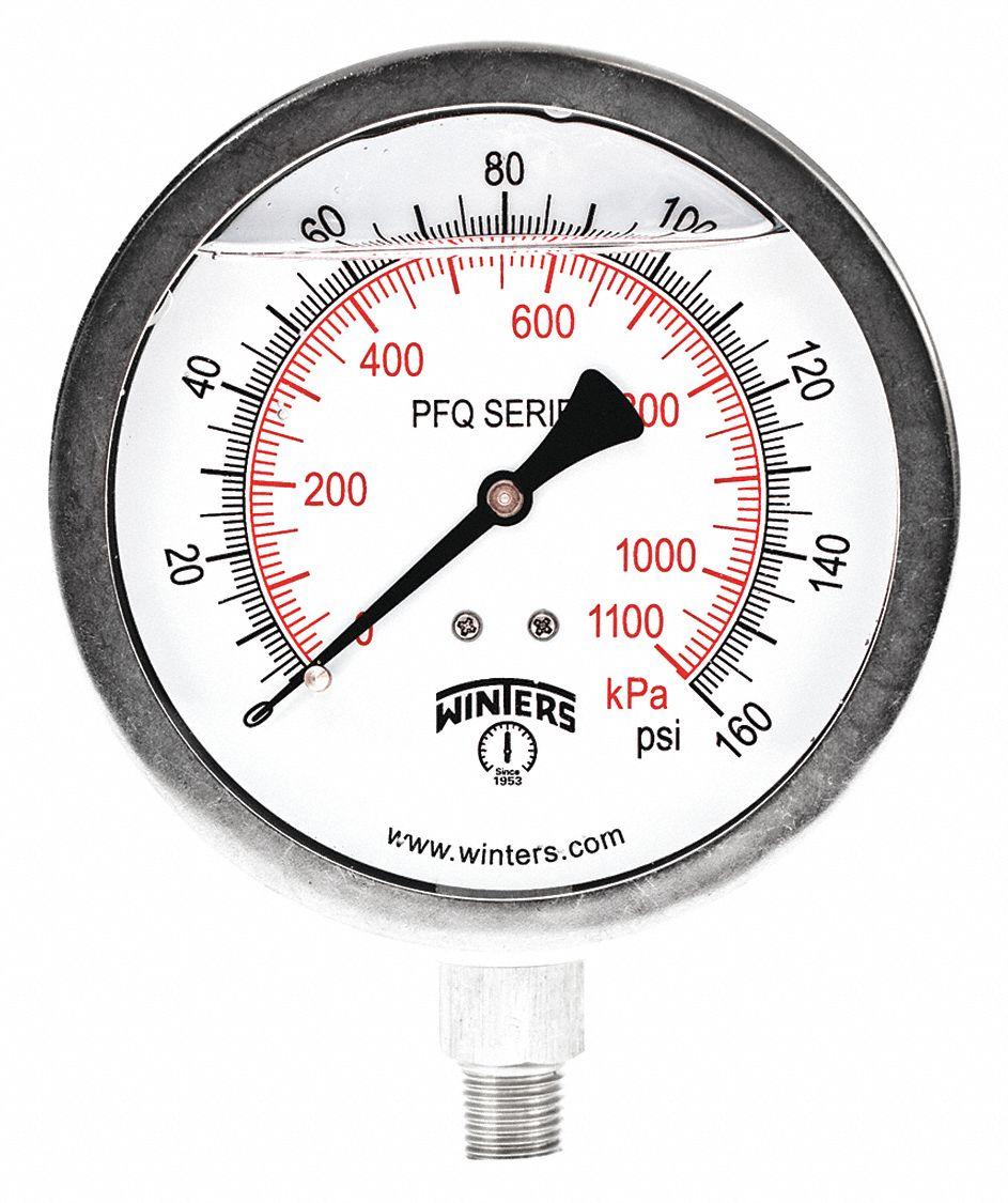 1//4 NPT WINTERS Pressure Gauge 1.50/% Gauge Accuracy 0 to 160 psi Range