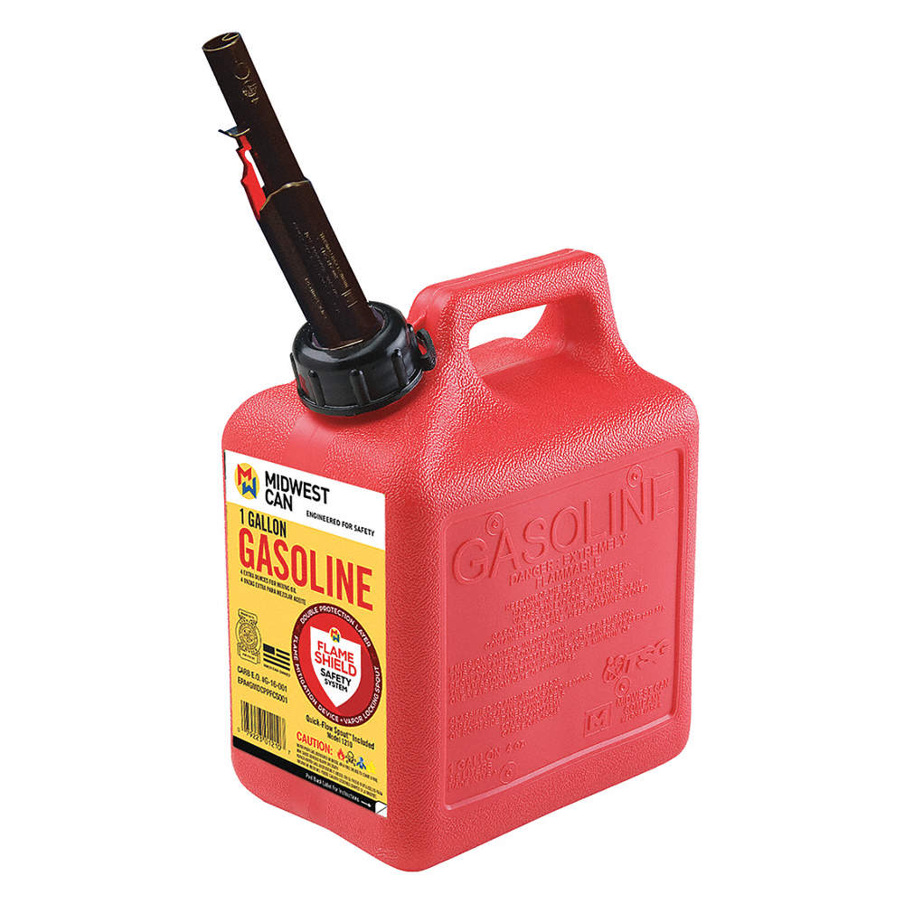 Safety Gas Can >> Gas Can Hdpe 1 Gal Capacity 9 1 2 Height 7 1 2 Length 5 Width Self Venting