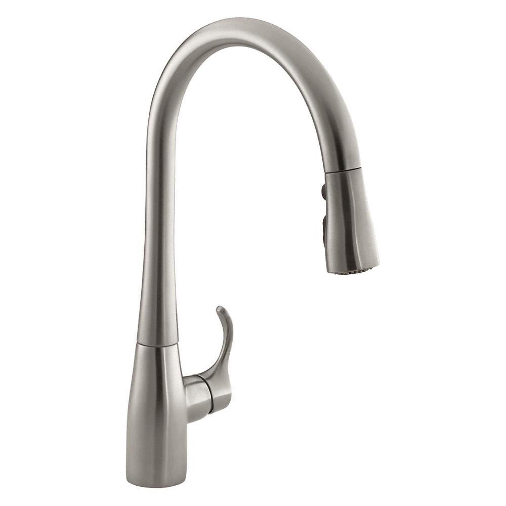 Gooseneck Pull Out Kitchen Sink Faucet, Side Joystick Faucet Handle Type,  1.50 gpm