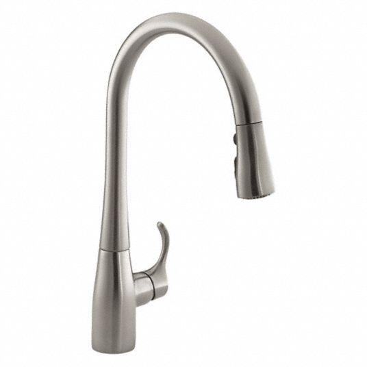 Kohler Stainless Steel Gooseneck Pull Out Kitchen Sink Faucet Manual Faucet Activation 1 5 Gpm 493j35 K 596 Vs Grainger