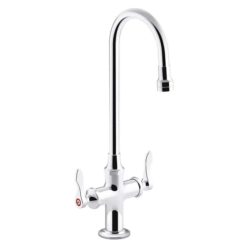 Gooseneck Bathroom Sink Faucet, Lever Faucet Handle Type, 1.00 gpm, Chrome