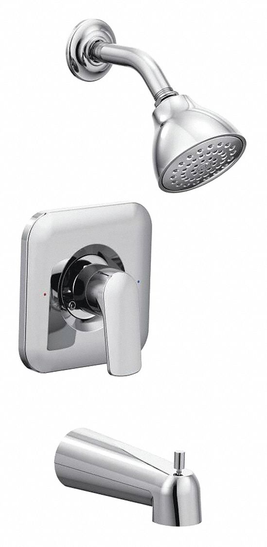Moen,  Wall Mounted,  Tub and Shower Trim Kit,  Pull Up Diverter Spout,  Chrome