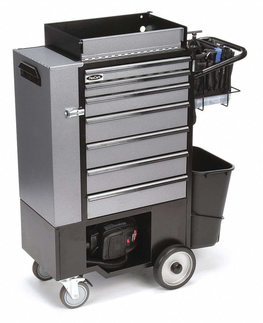 Black Heavy Duty Rolling Cabinet, 45 in H X 14 1/2 in W X 37 in D, Number of Drawers: 7
