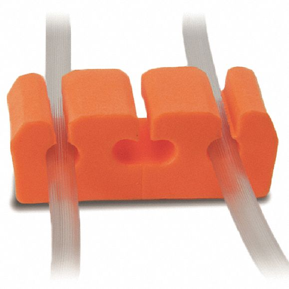 PVC Cord Holder, Orange, For Use With Wiring Management, 100 PK