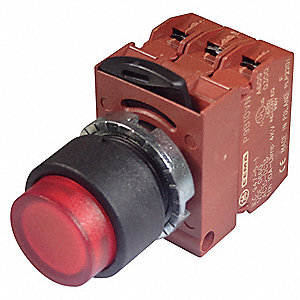 22mm LED 1NO/1NC Illuminated Push Button with Momentary Action, Red