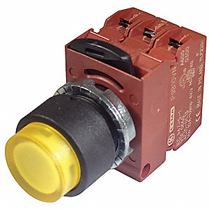 Illuminated Push Button Operator, Yellow, Momentary Action, 24VAC/DC Lamp Voltage